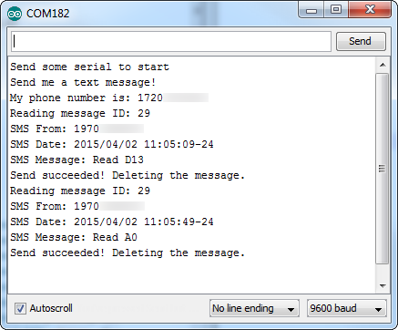 Example serialoutput from SMS responder