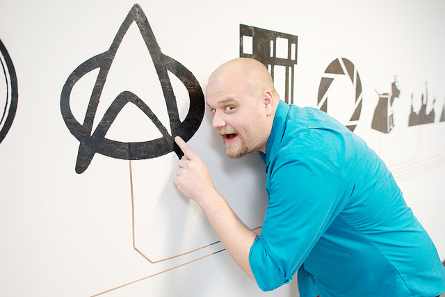Touching the conductive paint wall