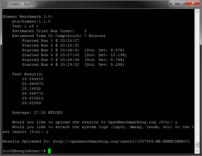 BeagleBone Black Rev C finishing the Himeno test
