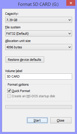microSD card formatter on Windows