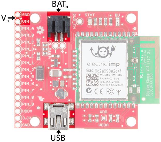 imp002 Breakout Board power inputs