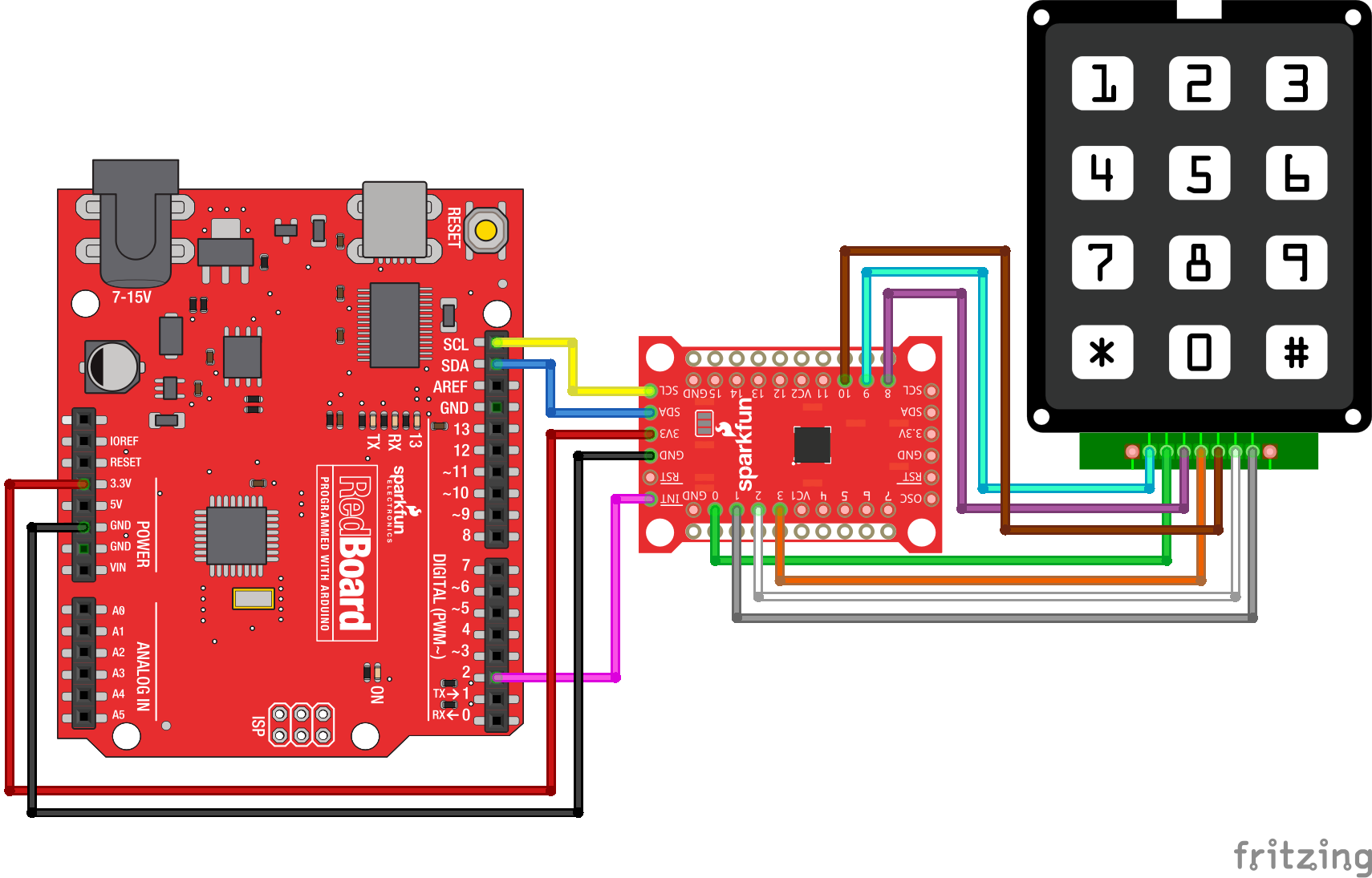 Sx1509 I O Expander Breakout Hookup Guide Pwm Controller Circuit Received By Email 40106 Keypad Fritzing Example
