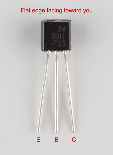 Annotated 2N3904 NPN transistor