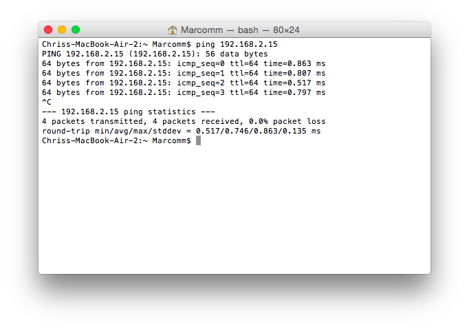 Ping the Edison from OS X