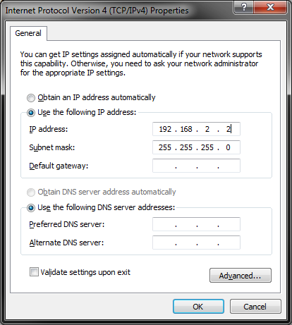 Entering static IPv4 address