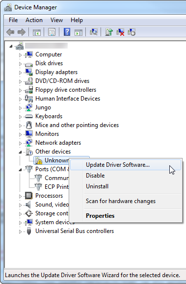 Navigating the device manager