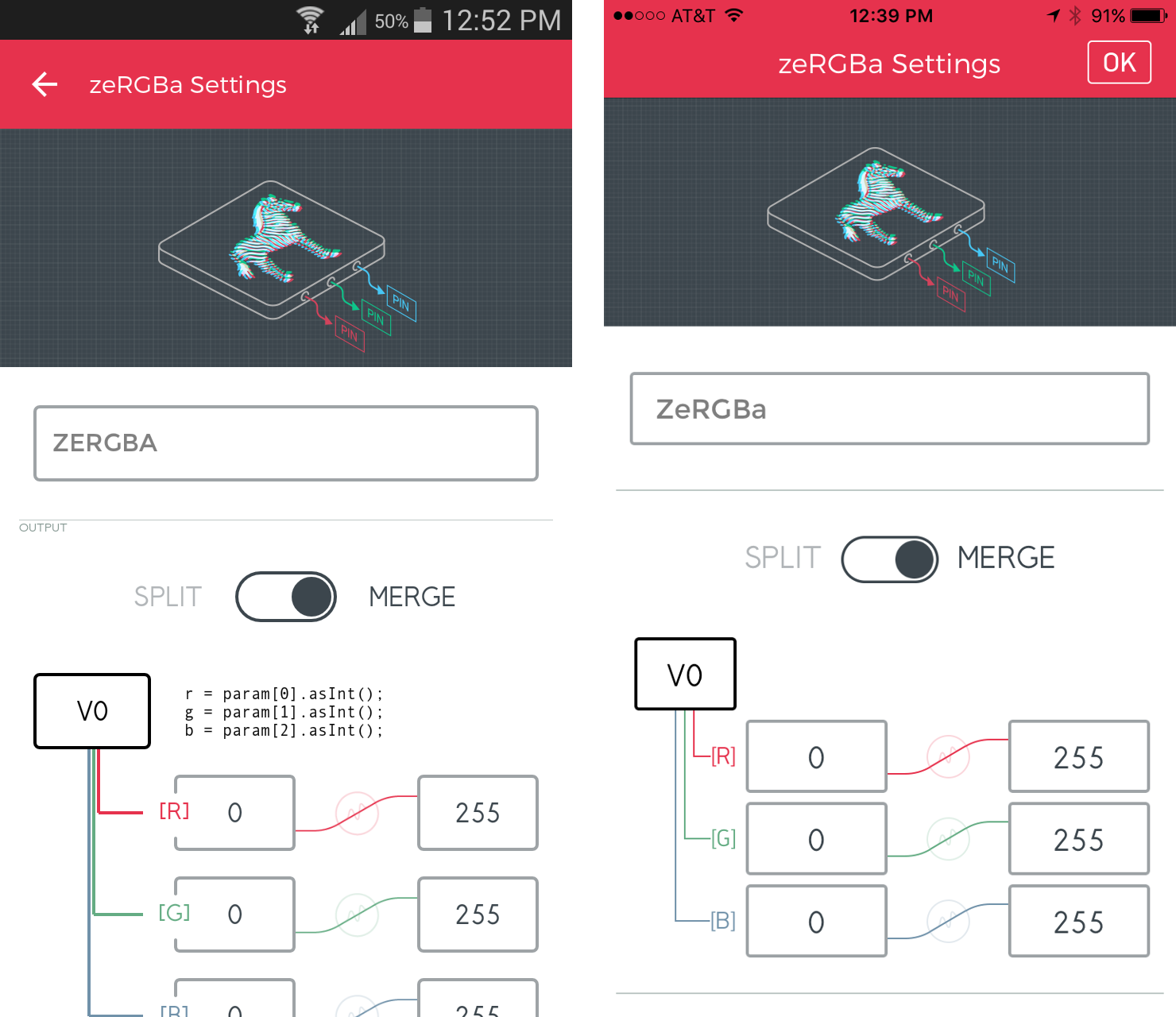 Getting Started With The Sparkfun Blynk Board Android Cable Schematic Slide Split Merge Switch Over To Then Tap Pin And Set Box V0 Widget Settings Should Look Like This