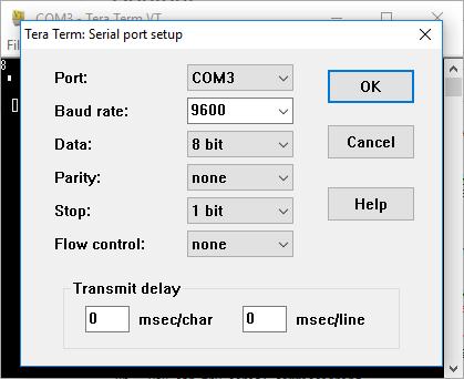 serial terminal settings