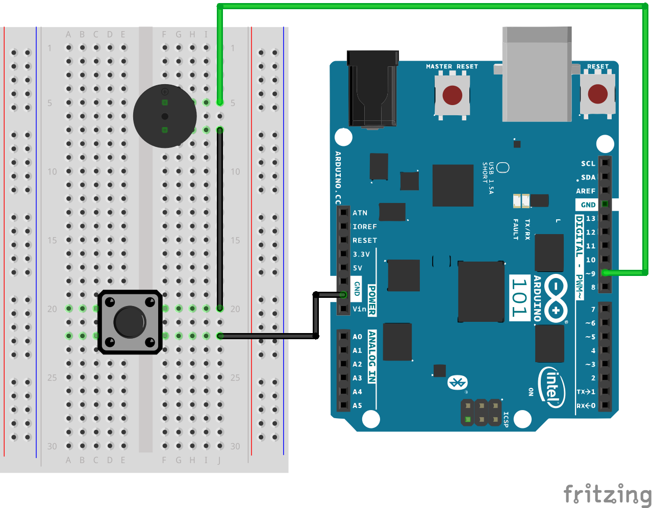 Sik Experiment Guide For The Arduino 101 Genuino Board Learn E One Wiring Diagram Fritzing Buzzer