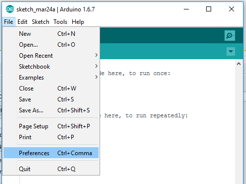 Opening arduino preferences