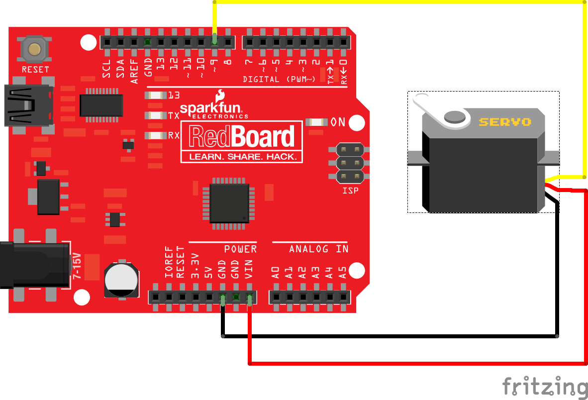 Hobby Servo Tutorial Simple Tester Connecting A To Redboard