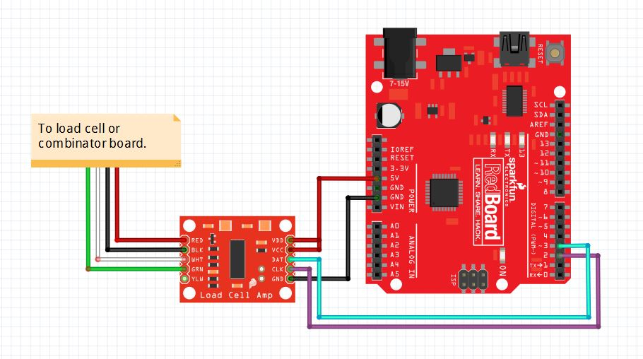 Load cell amplifier hx711 breakout hookup guide learnsparkfun fritzing diagram of hx711 amplifier connected to a redboard greentooth Gallery