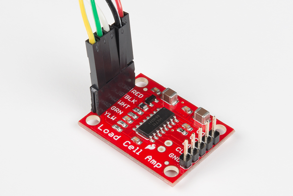 Load cell amplifier hx711 breakout hookup guide learnsparkfun strain gauge load cell hooked up to sparkfuns hx711 amplifier breakout board greentooth Gallery
