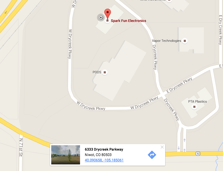 Screenshot of Google Maps showing the latitude and longitude of SparkFun Electronics