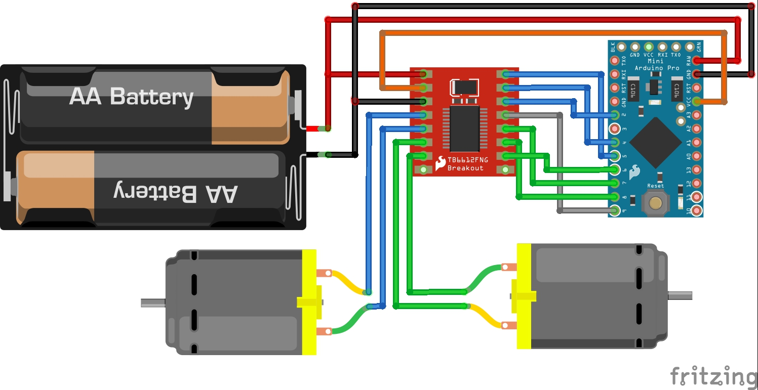 Tb6612fng Hookup Guide Motor Control No Microcontroller Needed Simple Circuit Diagram Here Is A Fritzing Showing How All The Connections Were Made