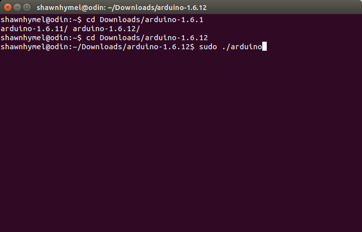 "Very exciting screenshot of a terminal with ""sudo ./arduino"" typed in"