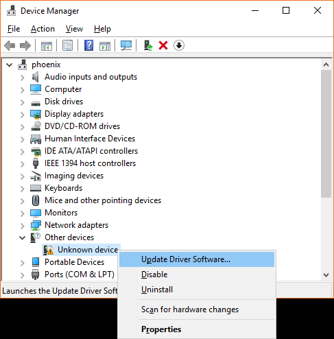 "Screeshot of the Device Manager window showing the right-click menu for a device called ""unknown device"". The ""Update Driver Software..."" option is highlighted."