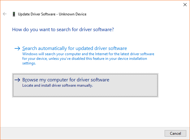 "Screenshot of the ""Update Driver Software"" interface. The option labeled ""Browse my computer for driver software"" is highlighted."