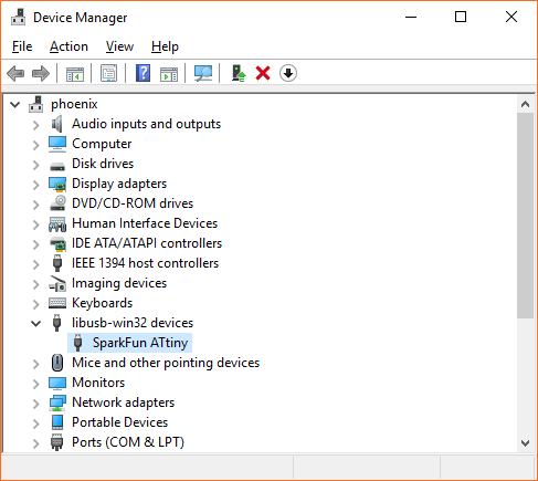 "Screenshot of the Device Manager window again, this time showing a device enumerating under ""libusb-win32 devices"" as ""SparkFun ATtiny"""