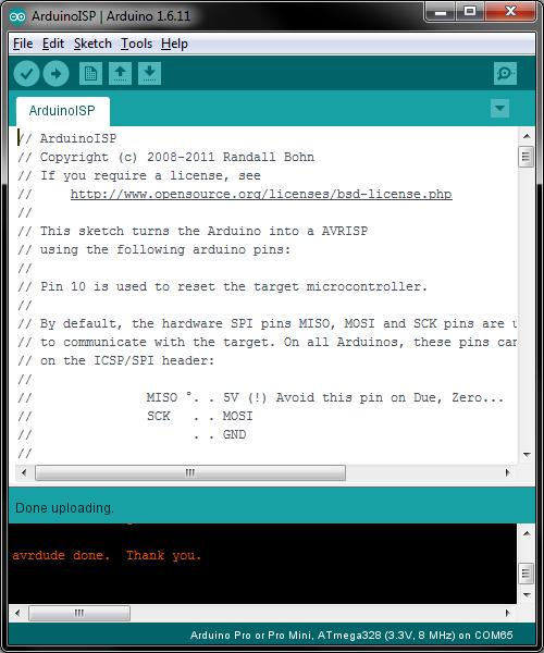 Uploading ArduinoISP
