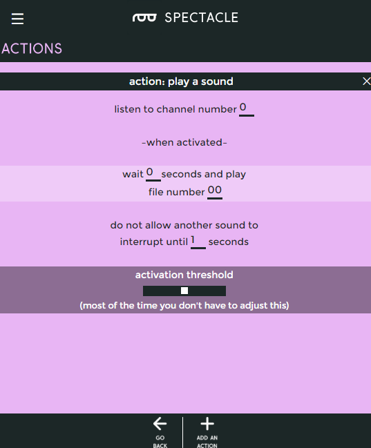 Play sound setup page