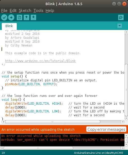 Arduino Upload Error Linux