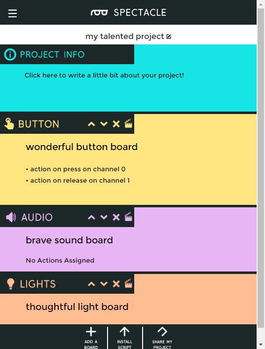 Board list with actions on Button board