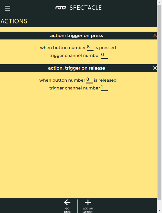 Button actions, filled in