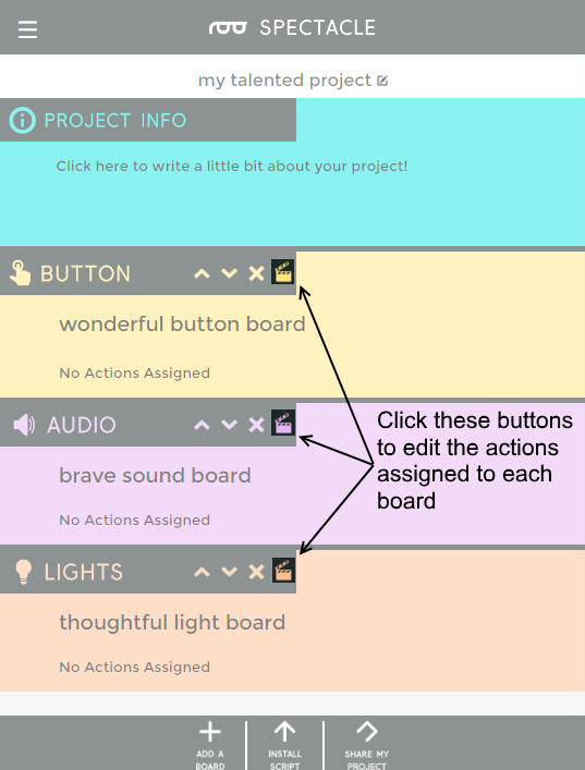 Edit action buttons