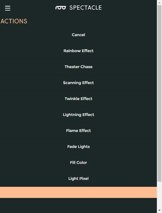 Action list for light board