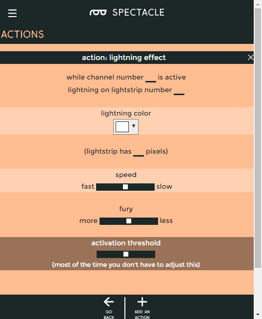 Lightning effect settings