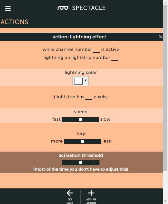 Lightning effect settings
