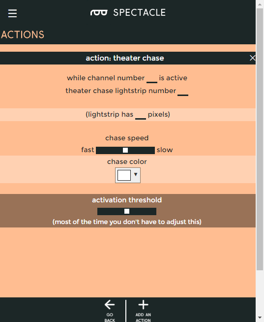 Theater chase settings