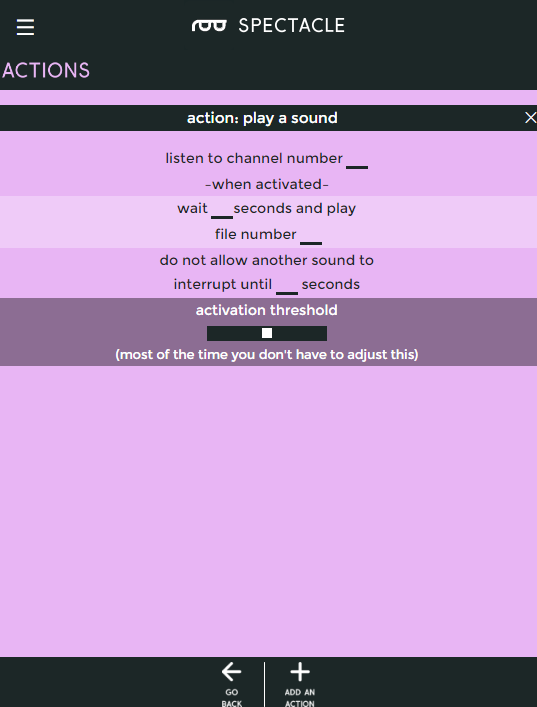 Play sound action options