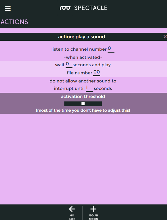 Settings for the play sound action