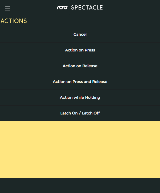 Action list for button board