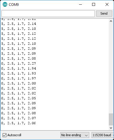 Serial terminal output example