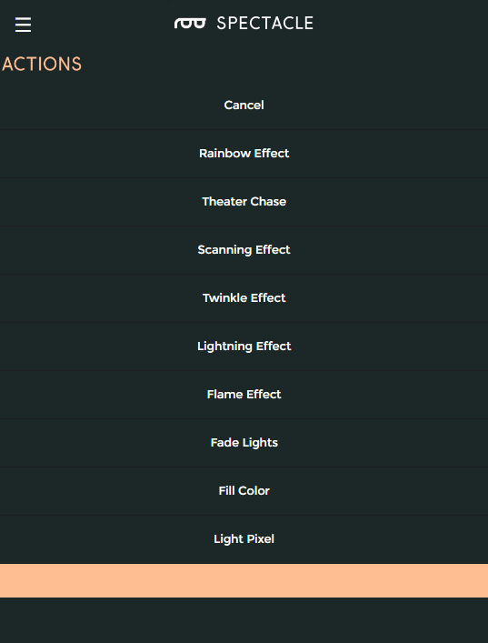 Actions list for light board
