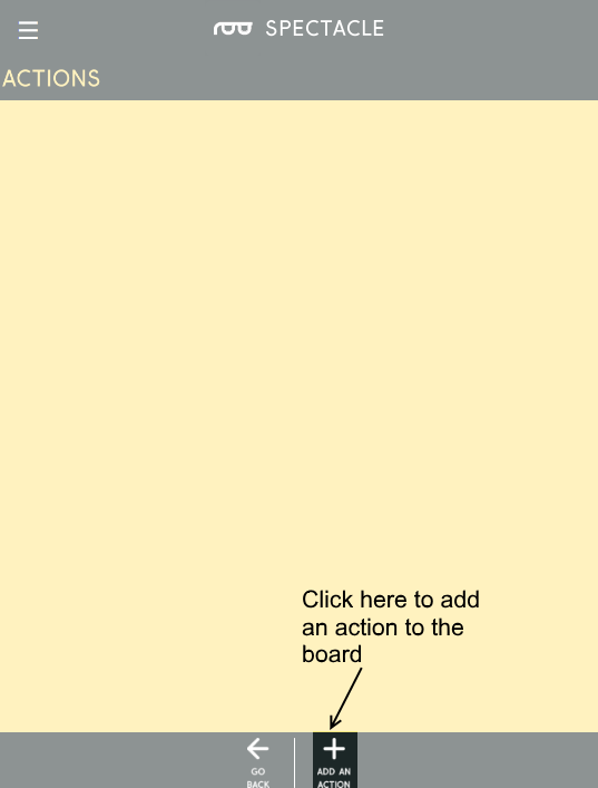 blank action page, add button highlighted