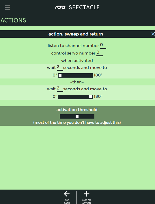Settings for the sweep and return action