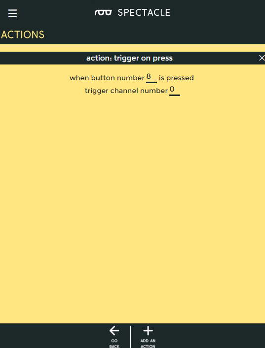 trigger on press action options