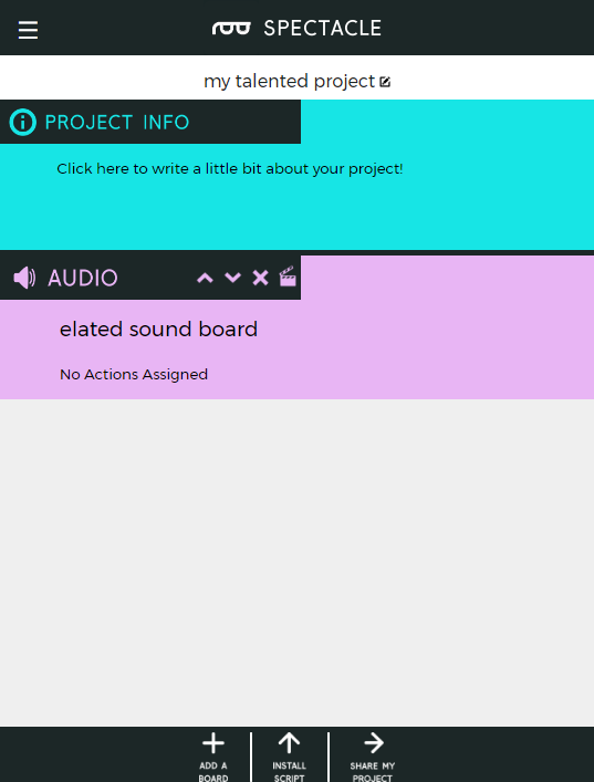Main page with audio board