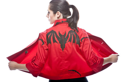 Model wearing Bats Have Feelings Too - a haptic jacket for the blind