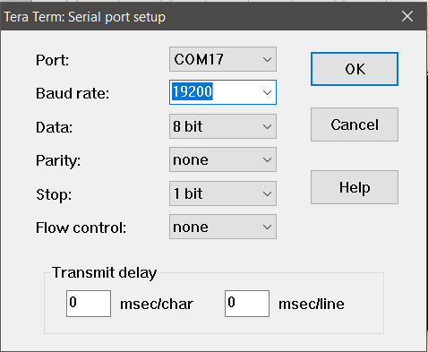 TeraTerm serial port window with 19200 in the baud rate field