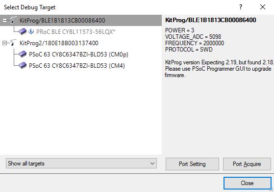 Select debug target prompt