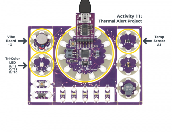 Thermal Alert Project from the LilyPad Development Board Actibity Guide