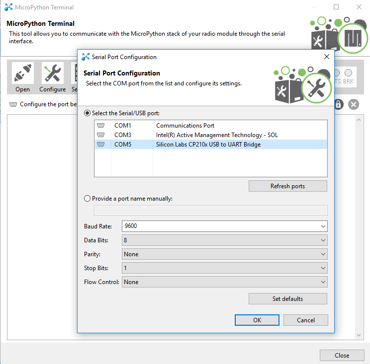 Selecting the correct COM port in the Configure Dialog