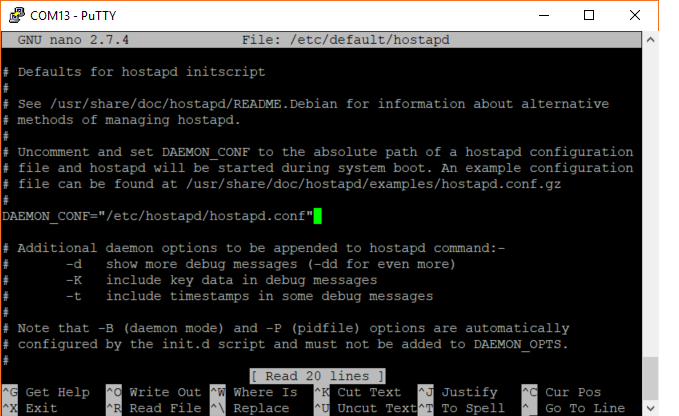Configure Hostapd to load the .conf file on boot