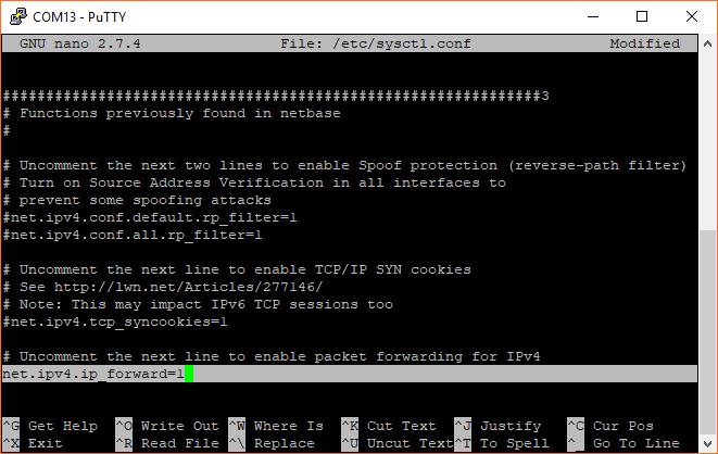 Enable IPv4 packet forwarding