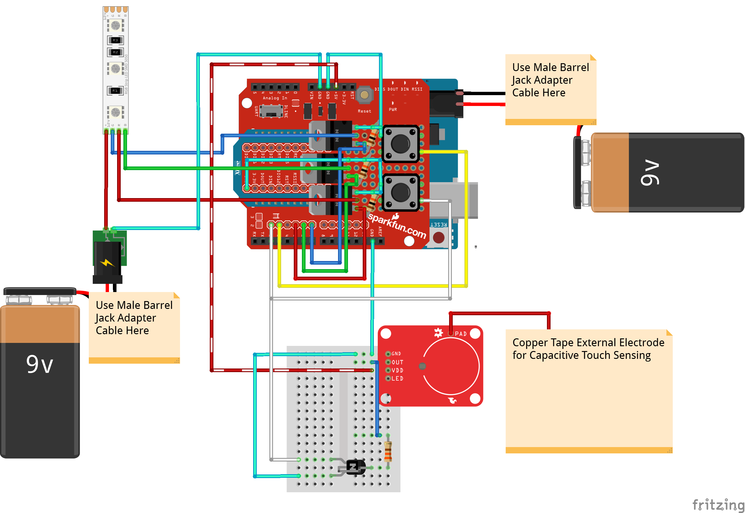 9v Led Wiring Diagram 3 Library Together With 555 Timer Circuit In Addition Capacitor Interactive 3d Printed Lit Diamond Prop Capacitive Touch Sensing Fritzing